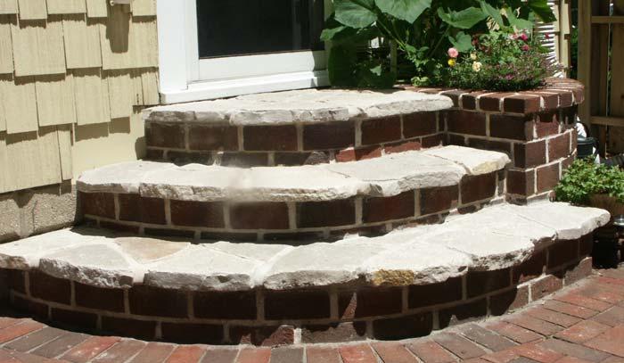Stone, brick and mortar steps