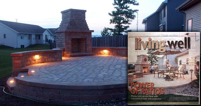 fireplace and paver patio