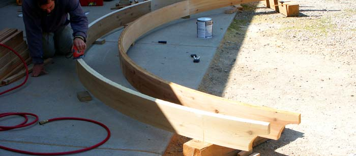 sanding curved arbor lintels