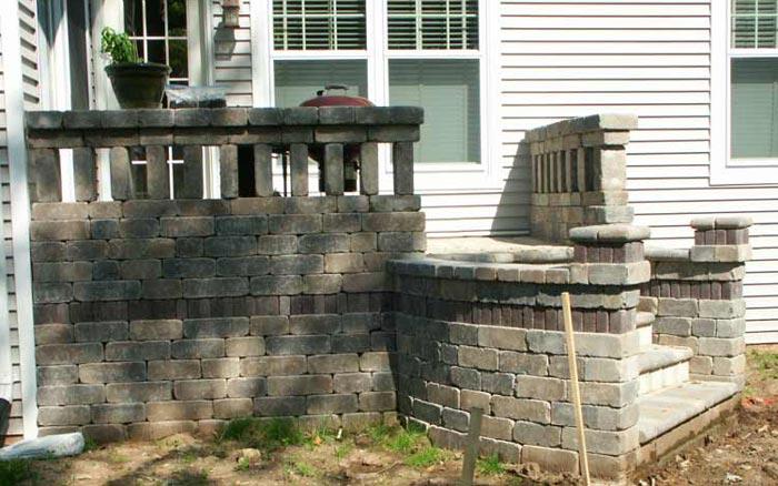 brick and block stone steps