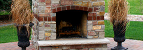 Brick and Stone Fireplace