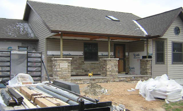 how to build stone veneer columns