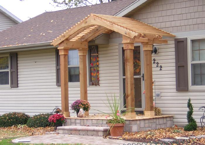 arbor, deck, paver pathway