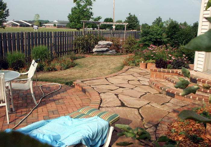 flagstone and paver patio and landscape