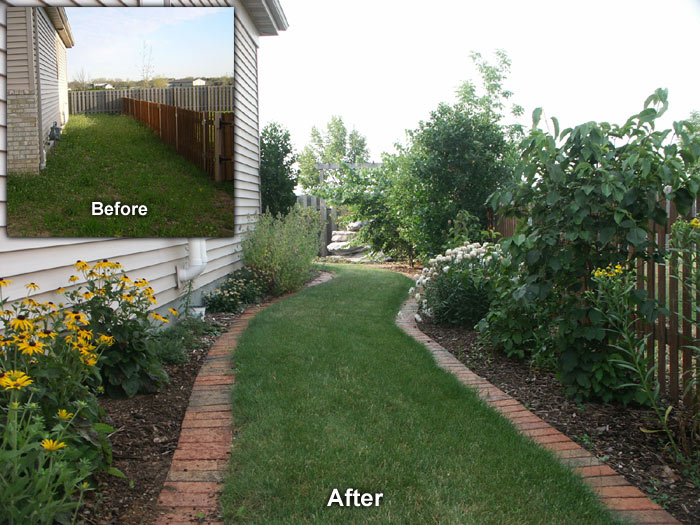 neenah side yard landscape before and after