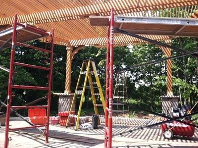 finishing up curved canopy arbor