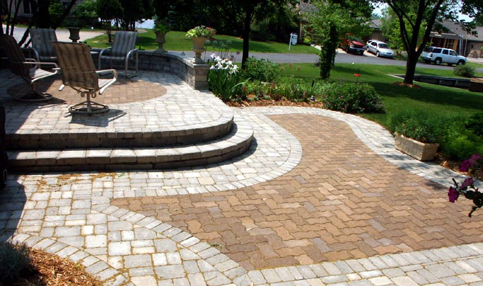 Brick Pavers, Tiered Patio, Mixed Styles