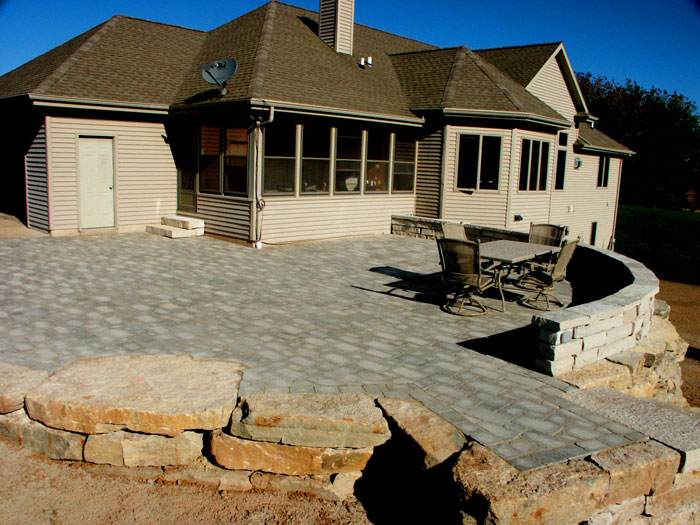 Limestone retaining wall and pavers, built in Greenville