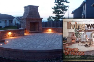 fireplace and paver patio
