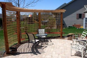 paver patio and curved arbor