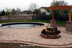pavers, pool, fire pit and swing