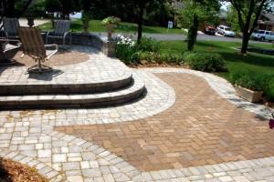 multi-level brick paver patio