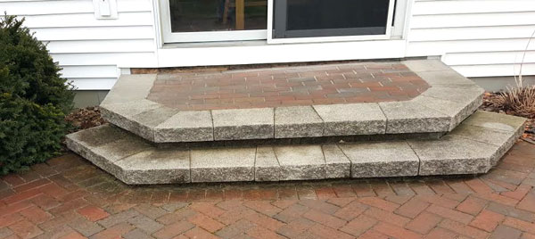 failing block and paver step